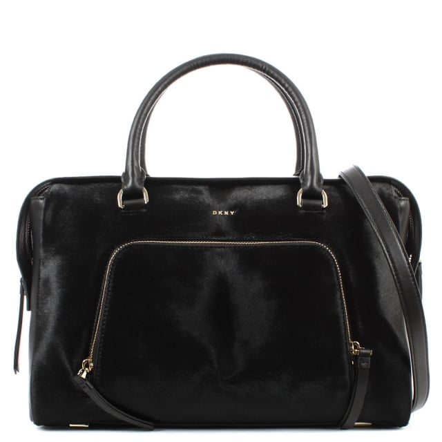 Riverside Black Leather Pocket Satchel