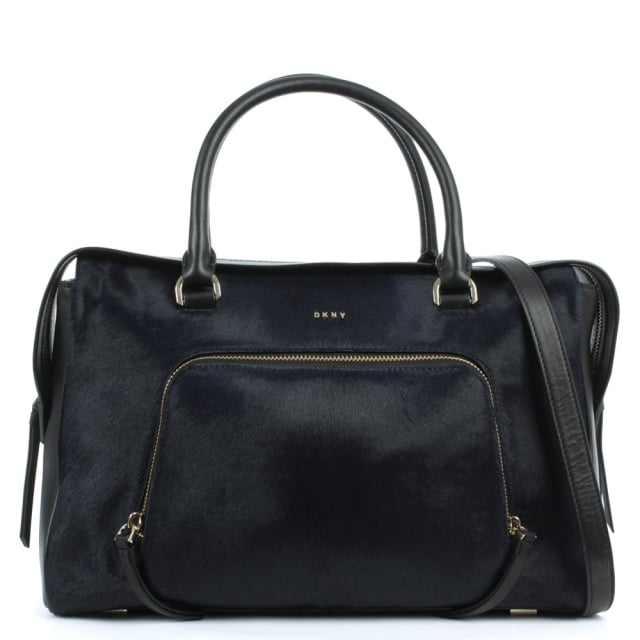 Riverside Navy Leather Pocket Satchel