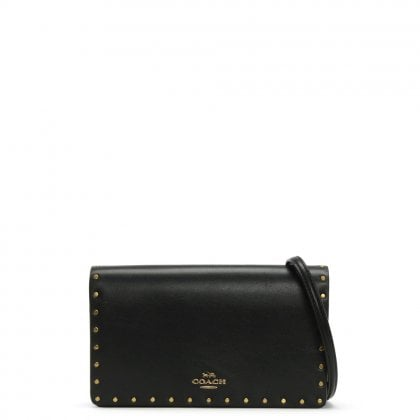 Rivets Black Leather Clutch Cross-Body Bag