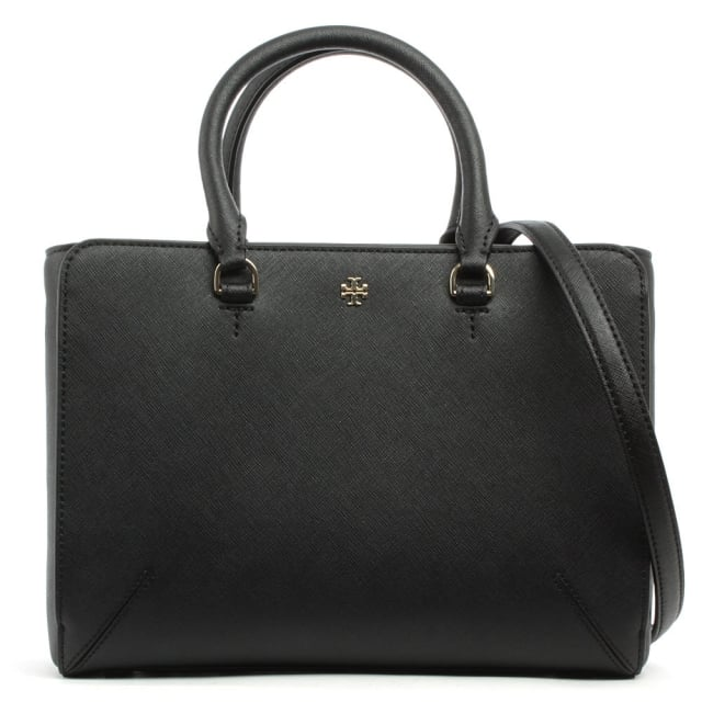 Robinson Black Leather Small Top Zip Tote Bag