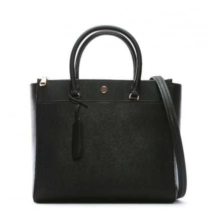 Robinson Black & Royal Navy Leather Double Zip Tote Bag