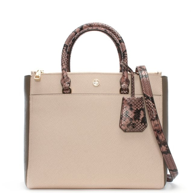 6413a0db83a Tory Burch Robinson Pale Apricot Multi Leather Double Zip Tote Bag