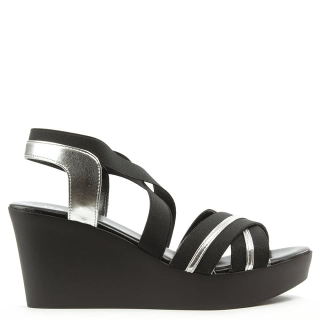 Rockvale Black Cross Front Strappy Sling Back Sandal