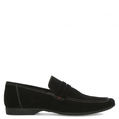Roman Rock Rocky 100 Black Suede Saddle Loafer