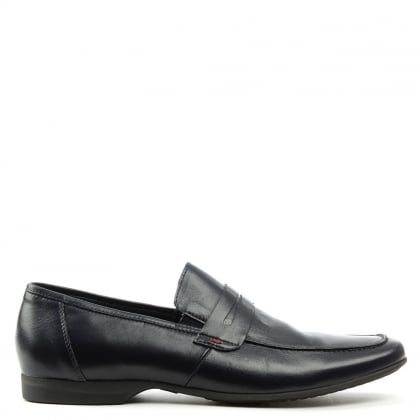 Rocky 100 Navy Leather Saddle Loafer