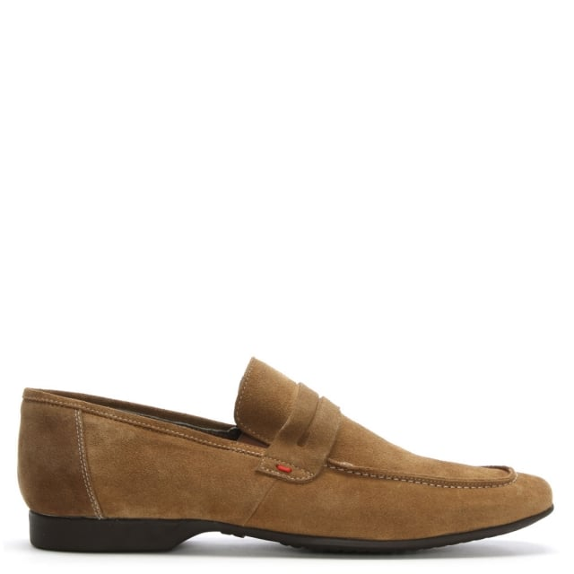 Rocky 100 Tan Suede Saddle Loafers