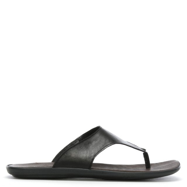 Rocky 302 Black Leather Toe Post Sandals