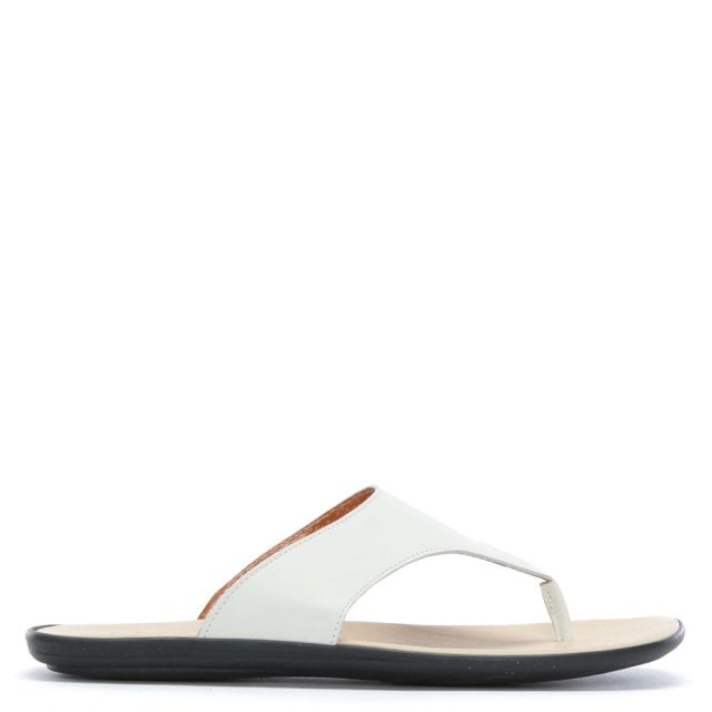 Rocky 302 White Leather Toe Post Sandals