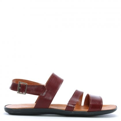 Rocky 304 Burgundy Leather Ankle Strap Sandals