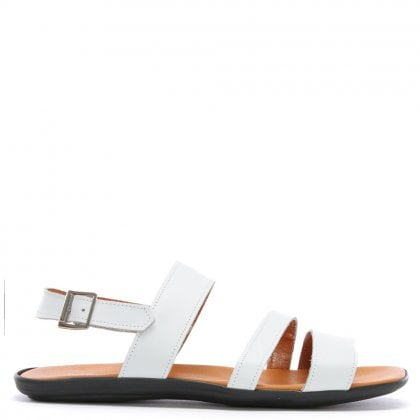 Rocky 304 White Leather Ankle Strap Sandals