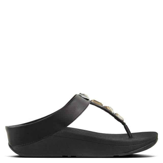Women's Shoes|Sandals|Trainers & Running Shoes Roka Black Leather Toe Post Sandals