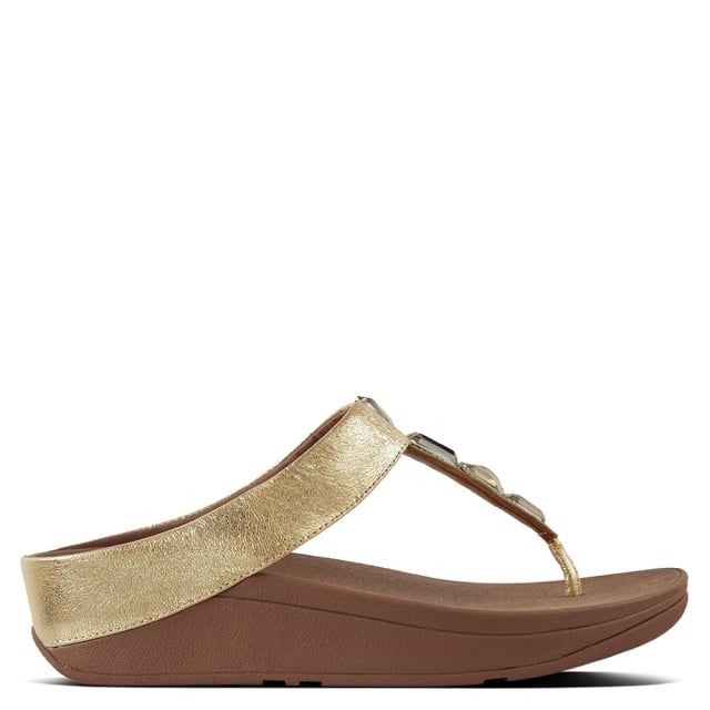 dfed596dd26a7 FitFlop Roka Gold Leather Toe Post Sandals