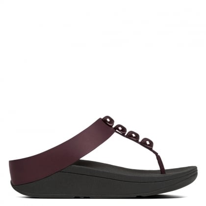 FitFlop Rola Hot Cherry Leather Toe Post Sandal
