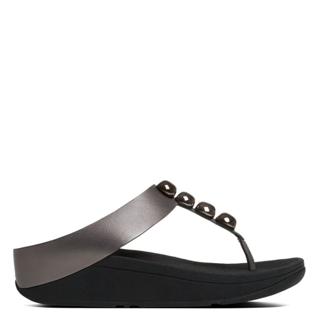 Rola Pewter Leather Toe Post Sandal
