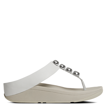 Rola White Leather Toe Post Sandals