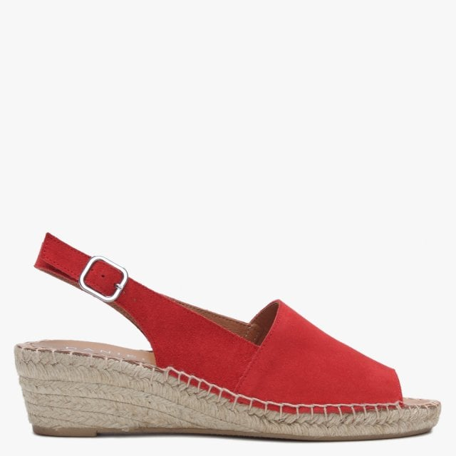 low priced ever popular outlet store Red Suede Low Wedge Espadrille Sandals