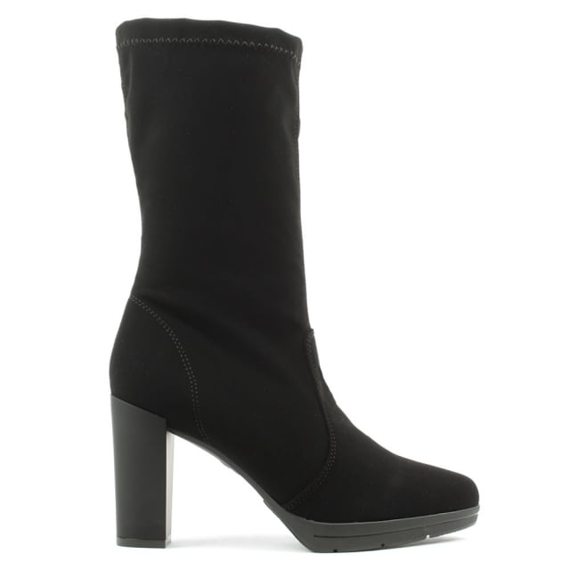 Rona Black Block Heel Platform Calf Boot