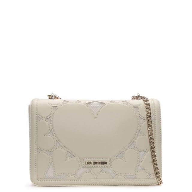 Love Moschino Rosa Beige Large Heart Cross-Body Bag