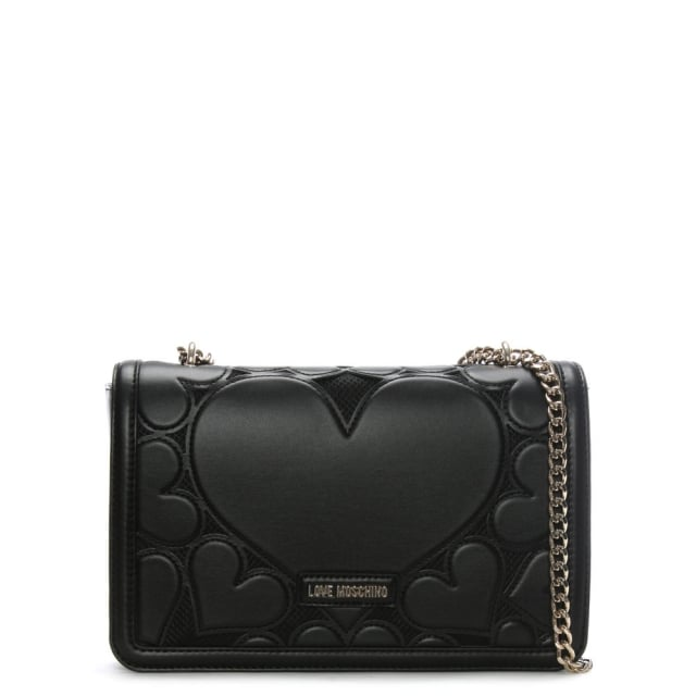 Rosa Black Large Heart Cross-Body Bag