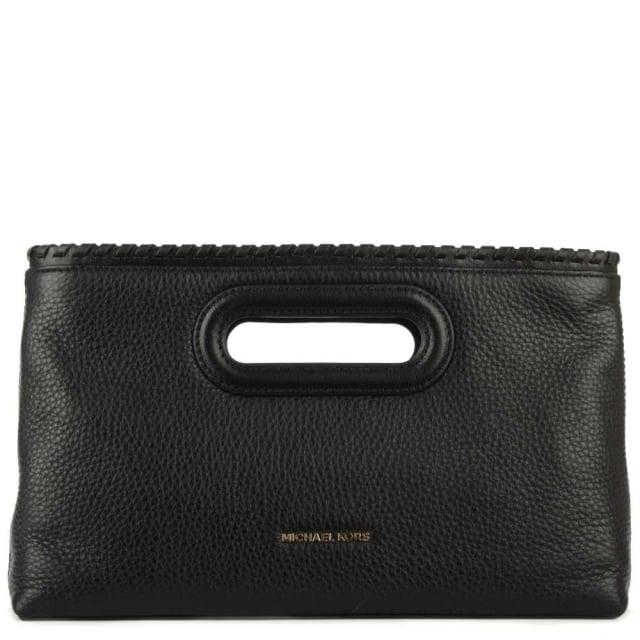 Michael Kors Rosalie Large Black Leather Clutch Bag