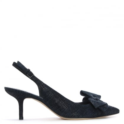 Rosalind Navy Suede Denim Sling Back Courts