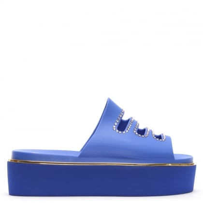 Roscommon Blue Rubber Diamante Flatform Mules