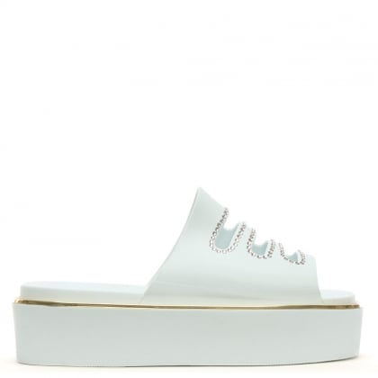 Roscommon White Rubber Diamante Flatform Mules