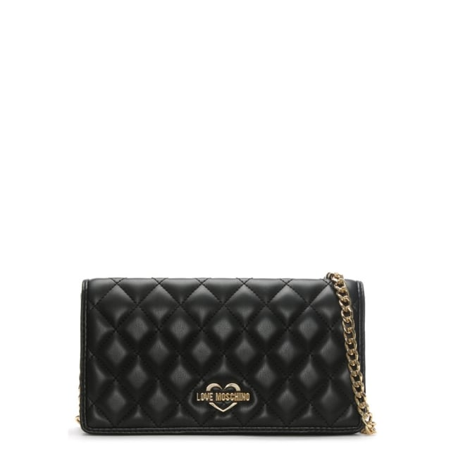 Love Moschino Rose Black Quilted Small Cross-Body Bag