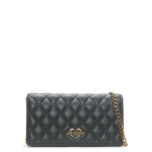 Love Moschino Rose Grey Quilted Small Cross-Body Bag
