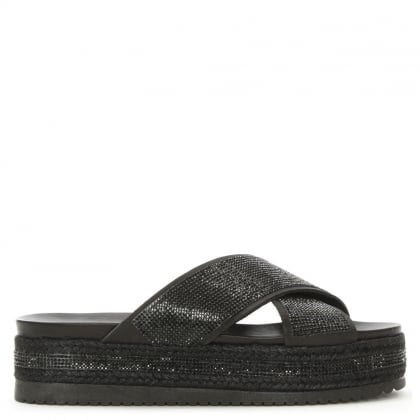 Rosebay Black Crystal Embellished Cross Strap Mule