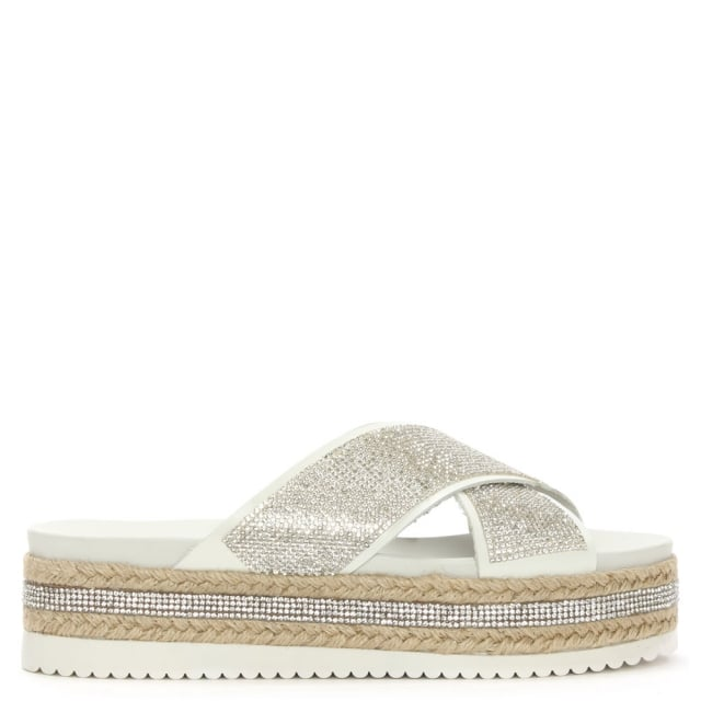 Rosebay White Crystal Embellished Cross Strap Mule