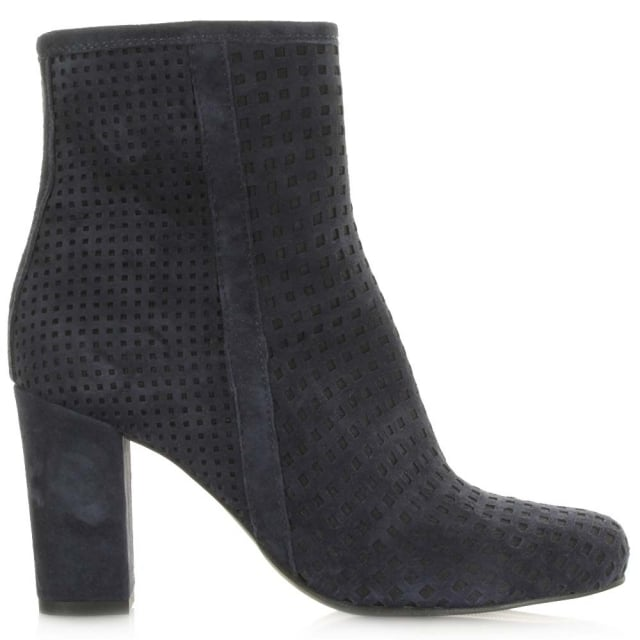 Rosemead Navy Suede Perforated Block Heel Ankle Boot