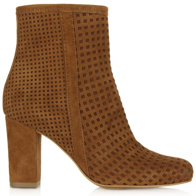 Rosemead Tan Suede Perforated Block Heel Ankle Boot