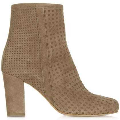 Rosemead Taupe Suede Perforated Block Heel Ankle Boot