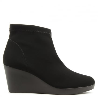 Rosetta Black Wedge Ankle Boot