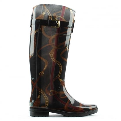 Rossalyn II Black All Over Patterned Rain Boot
