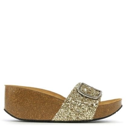 Roswell Gold Glitter Open Toe Mid Wedge Mule