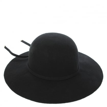 Round Brim Black Merino Wool Hat