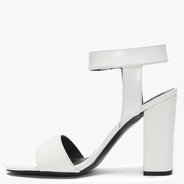 fde4f5f9df7d Kendall + Kylie Rowan White Patent Leather Block Heel Sandals