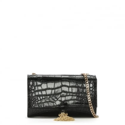RSVP Couture Black Leather Moc Croc Shoulder Bag