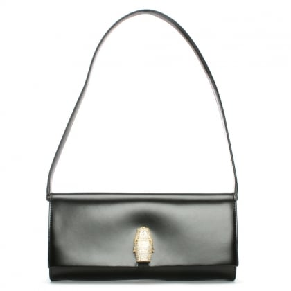 RSVP East West Black Leather Panther Diamante Clutch Bag