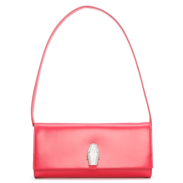RSVP East West Fuchsia Leather Panther Diamante Clutch Bag