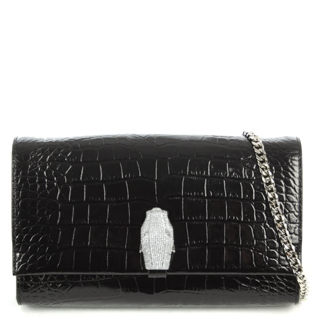 RSVP Treasure Black Leather Reptile Embossed Shoulder Bag