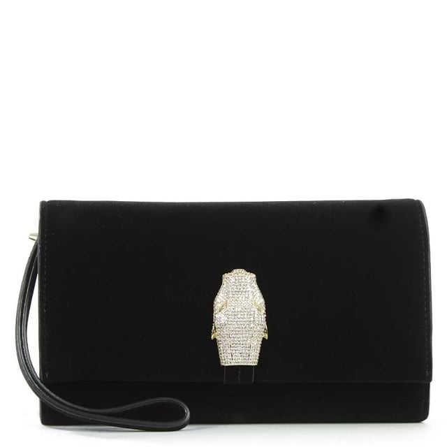 RSVP Treasure Black Velvet Flapover Clutch