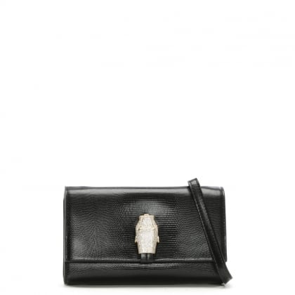 RSVP Treasure Small Black Leather Diamante Snake Flapover Shoulder Bag