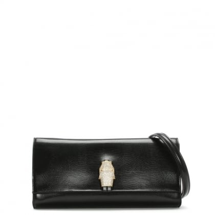 RSVP Treasure Small Black Reptile Leather Shoulder Bag