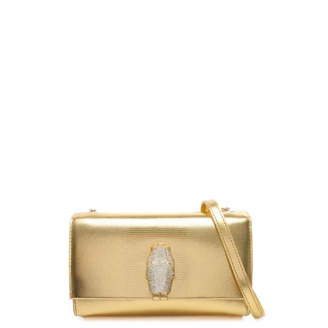 RSVP Treasure Small Gold Leather Diamante Snake Flapover Shoulder Bag