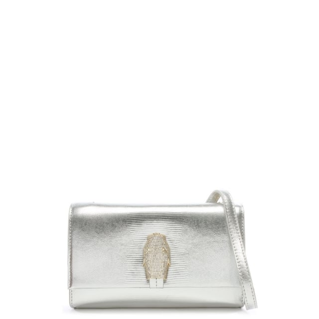 RSVP Treasure Small Silver Leather Diamante Snake Flapover Shoulder Bag