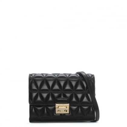 Ruby II Black Leather Quilted Clutch Bag
