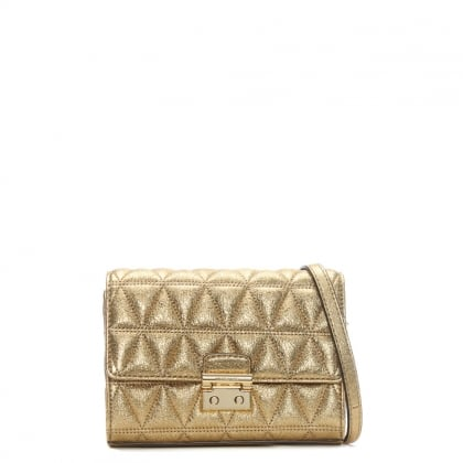 Ruby II Gold Leather Quilted Clutch Bag